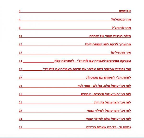 ספר לוח ויג'י - תוכן עניינים